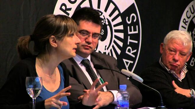 Bibiana Medialdea, economista de Podemos, junto a Carlos Sánchez Mato, concejal de Hacienda de Madrid.