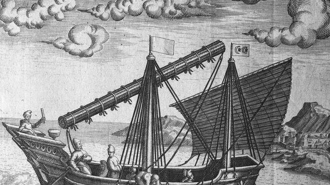 Grabado antiguo en el que se ve un barco que navegaba por la ruta Galeón de Manila o Nao de China.