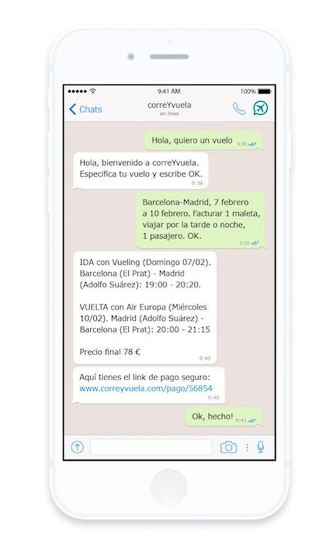 Pantallazo de una conversación con un chatbot