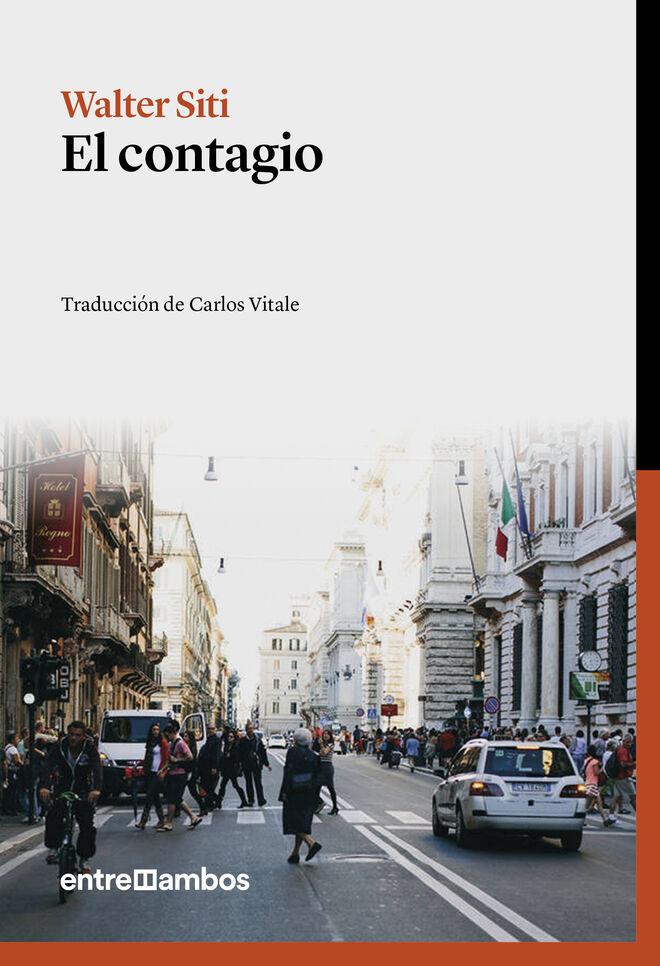 Un detalle de la portada de El contagio (Entreambos)