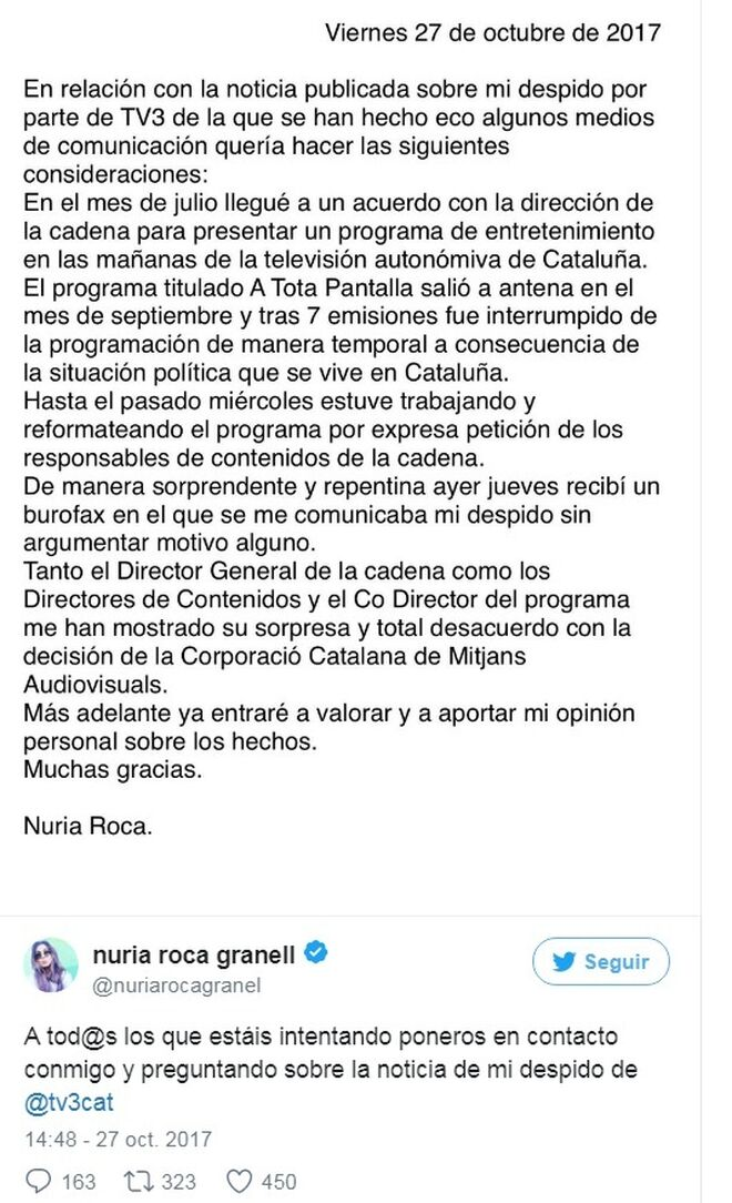 Así ha contado Nuria su despido en Twitter.