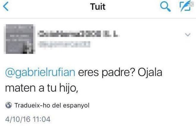 El tuit de amenazas a Rufián
