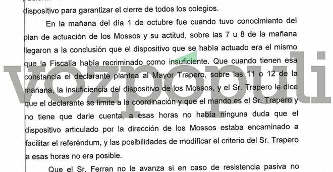 Extracto de la declaración en la que se relata en enfrentamiento