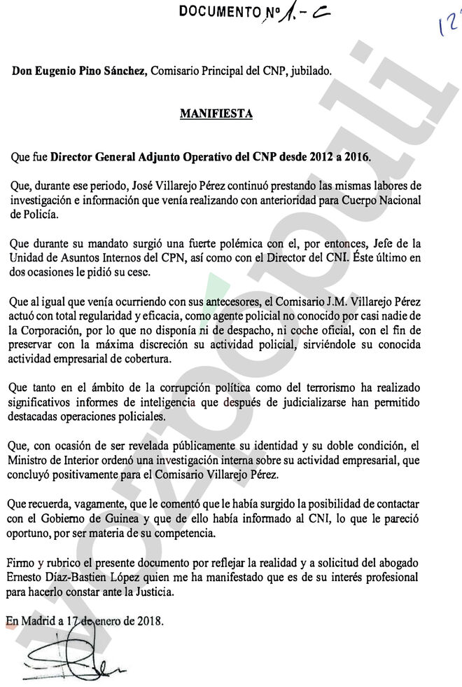 La carta que Pino remitió a la Audiencia Nacional en defensa de Villarejo