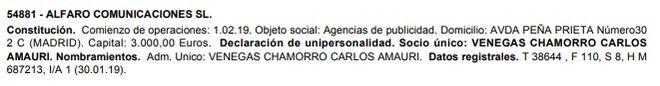 Inscripción en el Boletín Oficial del Registro Mercantil