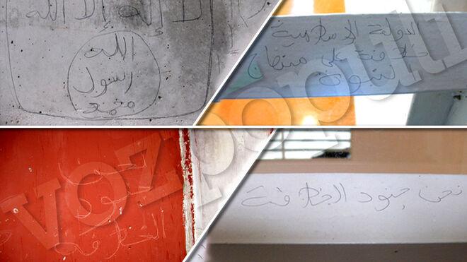 Algunas de las pintadas yihadistas halladas en prisión
