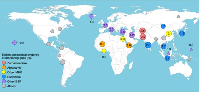Ubicaciones de las 30 regiones etiquetadas de acuerdo con la evidencia precolonial de dioses moralizantes.
