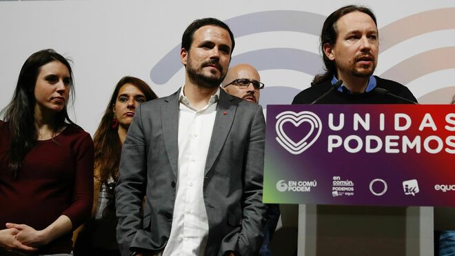Irene Montero, Alberto Garzón y Pablo Iglesias