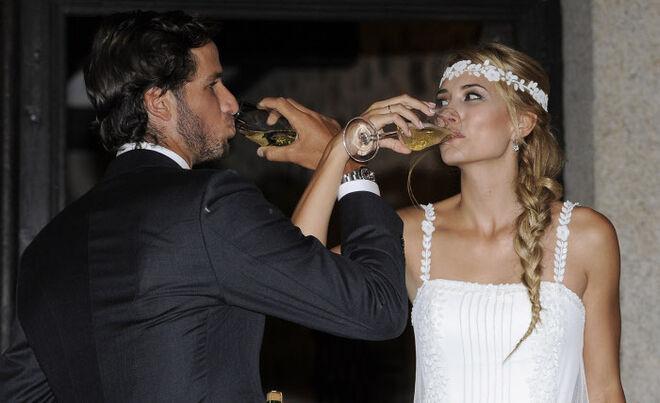 Feliciano López y Alba Carrillo el día de su boda