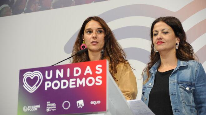 Noelia Vera en un acto de Unidas Podemos