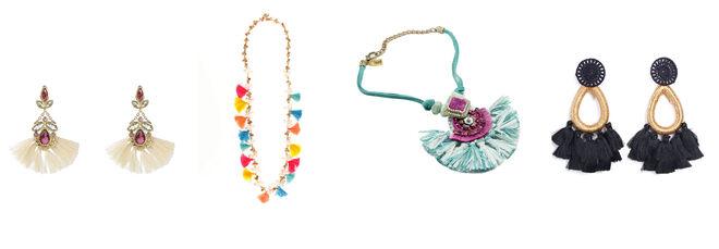 AGATHA by SARA CARBONERO pendientes de pompones blancos / VENCA collar de pompones multicolor / MAGDALA collar con pompón azul / VENCA pendientes negros con pompones