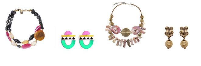 ALDAZABAL collar cuentas de colores / LAUSETT pendientes tribales de metacrilato / NOX collar piedras tonos rosas / NOX pendientes dorados