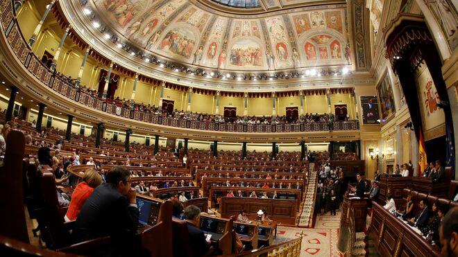 El Hemiciclo del Congreso de los Diputados durante el discurso de investidura de Pedro Sánchez