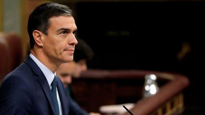 Pedro Sánchez durante el último debate de investidura