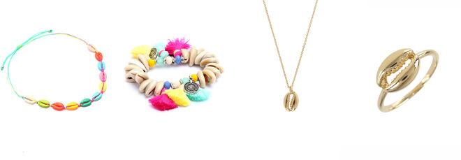 VENCA collar conchas de colores / VENCA pulsera conchas con pompones / AGATHA by SARA CARBONERO collar y anillo con concha dorada