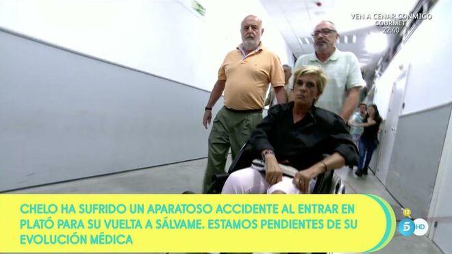 Chelo García-Cortés fue atendida por los médicos de Mediaset y tuvo ir al hospital en silla de ruedas.