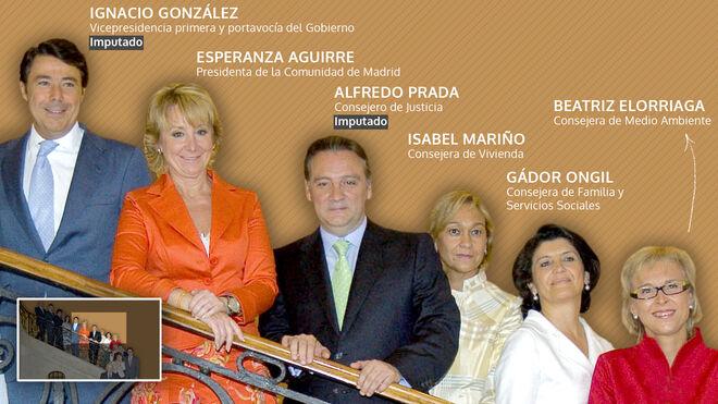 González, Aguirre, Prada, Mariño, Ongil y Elorriaga, parte del Gobierno de la Comunidad de Madrid en 2007.