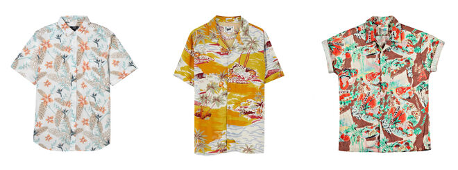 KIABI Camisa blanca 10€ / PULL & BEAR Camisa tonos dorados 19.99€ / REPLAY Camisa marrón 44.50€