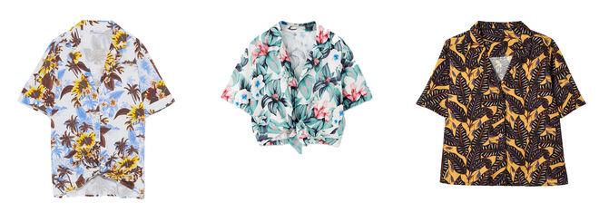 ZARA Camisa con palmeras 9.99€ / PULL & BEAR Camisa anudada 19.99€ / KIABI Camisa estampado hojas 12€