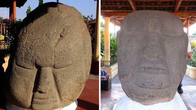 Dos de las cabezas gigantes analizadas en el estudio