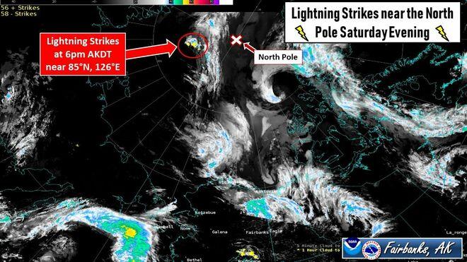 El primer rayo de tormenta detectado tan cerca del Polo Norte
