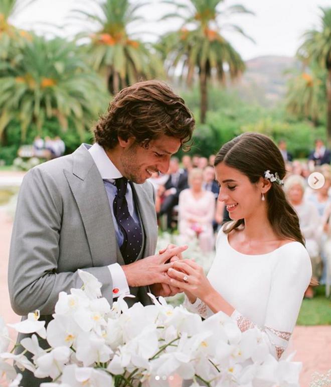 Feliciano López y Sandra Gago el día de su boda