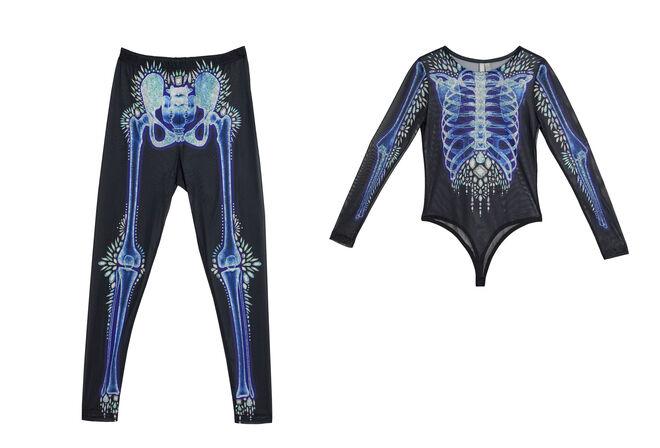 Conjunto de leggin y body con dibujo de esqueleto