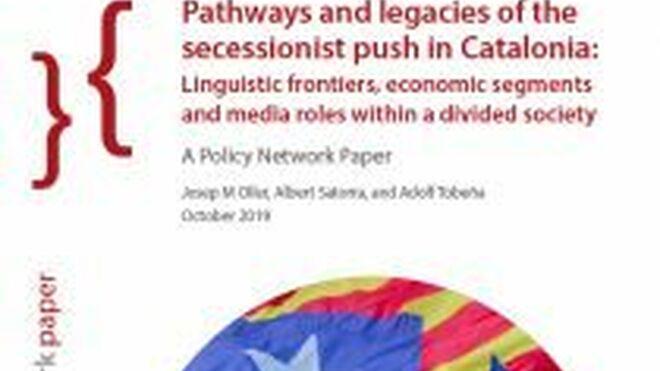 Portada del estudio Caminos y legados del impulso secesionista en Cataluña, de Albert Satorra (UPF), Josep M Oller (UB) y Adolf Tobeña (UAB), publicado por Scientific Research Publishing.