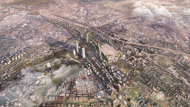 El ámbito de Madrid Nuevo Norte desde los cielos de la capital