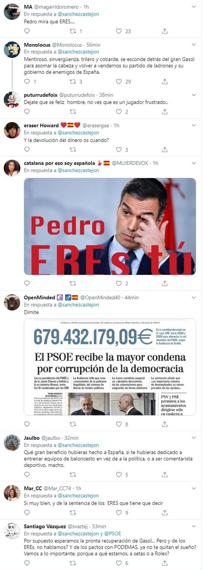 Críticas a Pedro Sánchez tras su mensaje a Pau Gasol.