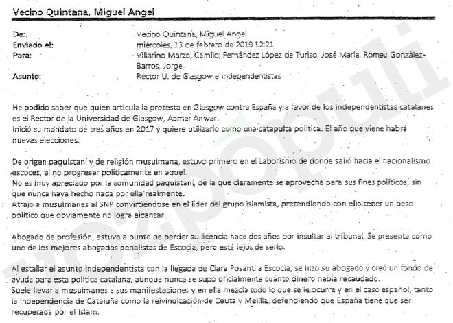 Telegram of the consulate on the figure of Clara Ponsatí's lawyer.