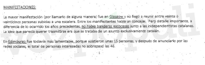 Text of an email from the consul on the demonstrations in Scotland after the start of the trial in the Supreme Court.