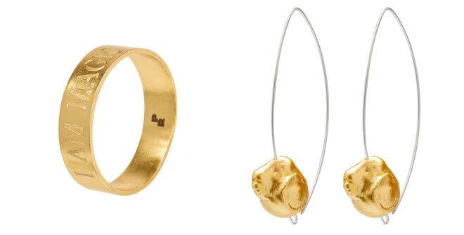 Anillo dorado grabado PVP: 72€ // Pendientes con piedra dorada PVP: 68€