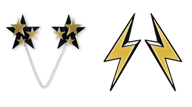 Clip con forma de estrellas PVP: 39.99€ // Pendientes con forma de rayo PVP: 45.99€
