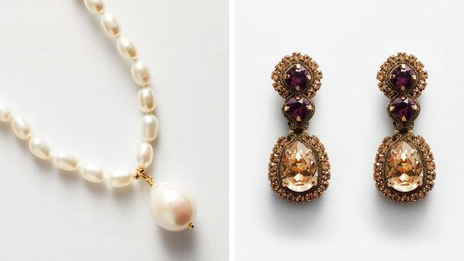 Collar perlas irregulares PVP: 135.50€ // Pendientes barrocos PVP: 163.90€