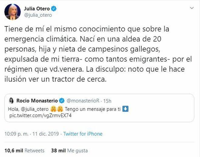 Julia Otero responde a Monasterio con un 'zasca'.