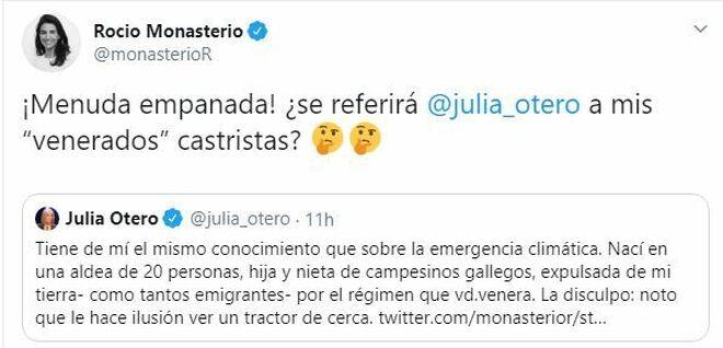 Monasterio contesta a Julia Otero en las redes sociales.
