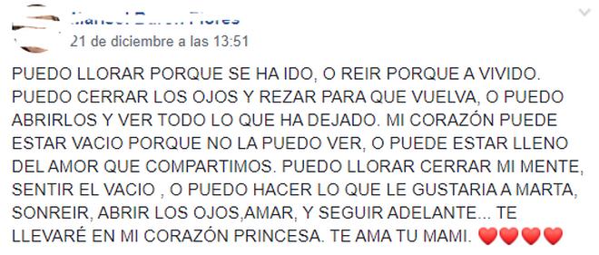 Post de la madre de Marta Calvo