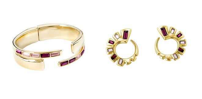 Pulsera dorada con cristales PVP: 159€ // Pendientes circulares con cristales PVP: 109€