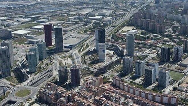 Visión aérea de la plaza Europa, en pleno distrito económico de L'Hospitalet de Llobregat.