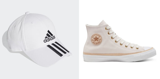 ADIDAS Gorra con logo. PVP: 9€ // CONVERSE Bota blanca. PVP: 45€