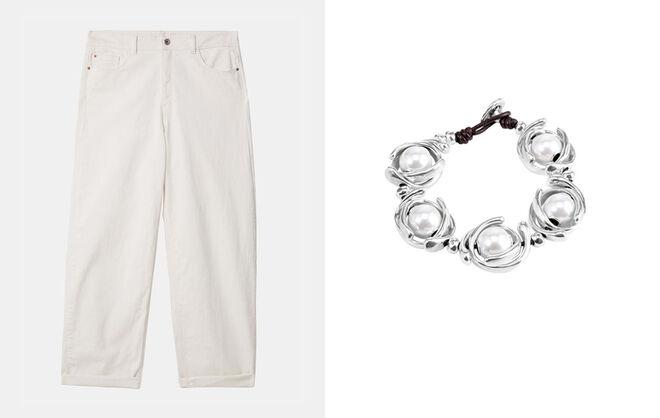 ADOLFO DOMINGUEZ Pantalón blanco unisex. PVP: 39€ // UNOde50 Pulsera con perlas. PVP: 125€