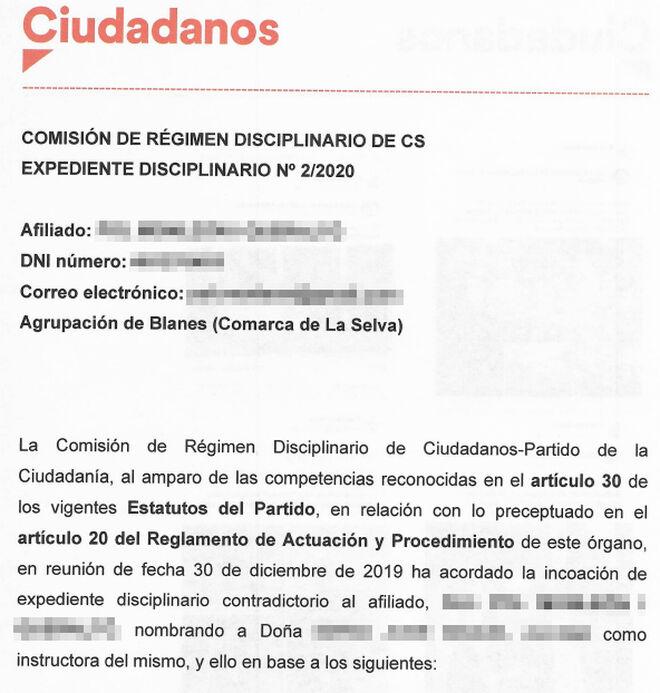 Captura del expediente disciplinario contra un afiliado de Blanes (Girona)
