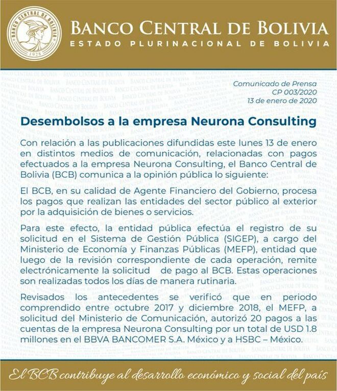 Comunicado del Banco Central de Bolivia