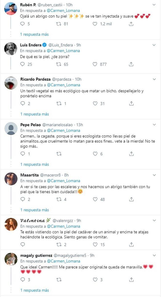 Críticas a Carmen Lomana en las redes sociales.