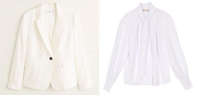 MANGO Americana blanca. PVP: 30€ // DOLORES PROMESAS Blusa con lazada. PVP: 65€
