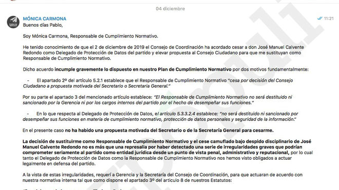 Mensaje y documentos enviados a Pablo Iglesias