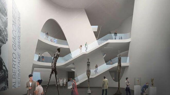 Una simulación del interior del Museo Hermitage de Barcelona diseñado por el japonés Toyo Ito