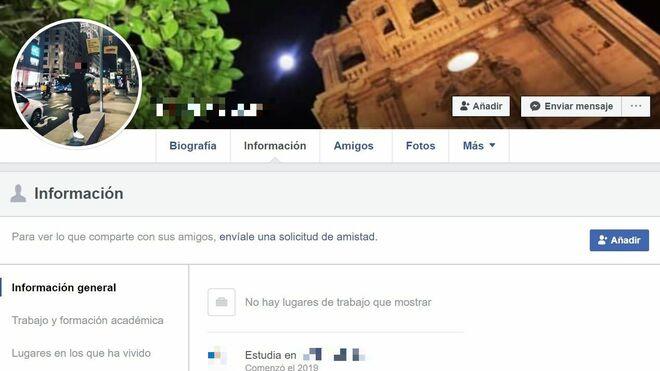 Perfil de Facebook de uno de los detenidos