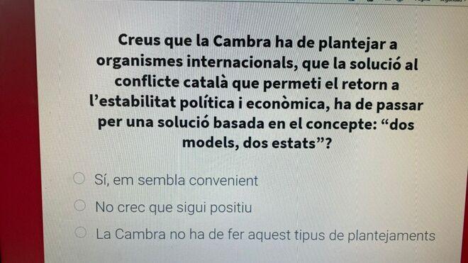 Pregunta del cuestionario de Canadell.